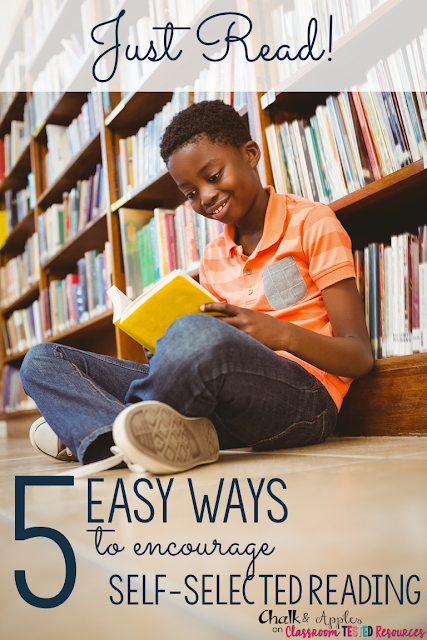 "5 Easy Ways to Encourage Self-Selected Reading | Encourage students to ""just read"" by introducing new books & providing opportunites for students to recommend books to one another. 