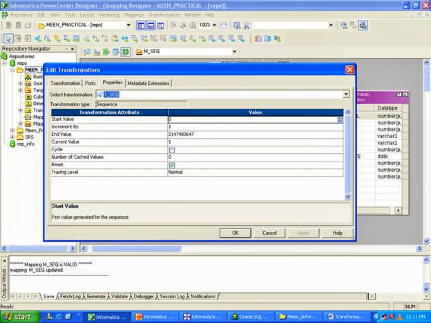 Sequence Generator in Informatica