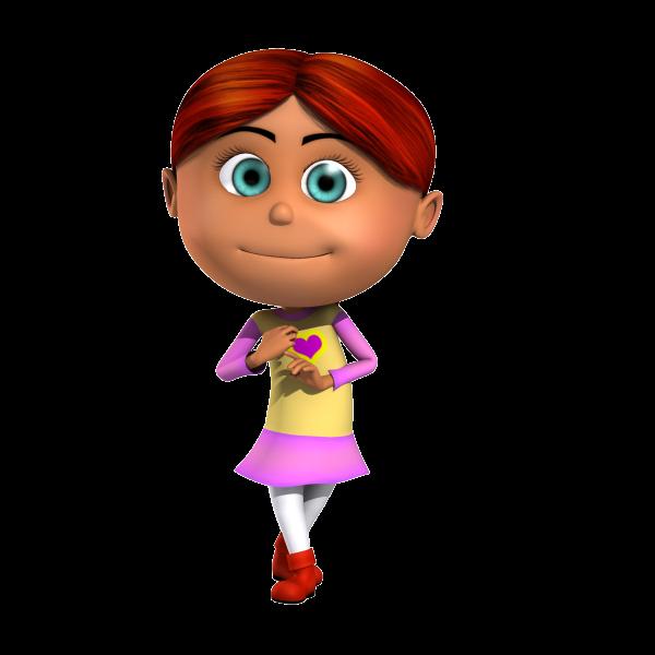 Isabella Readhead Kid 3D Cartoon Character being cute