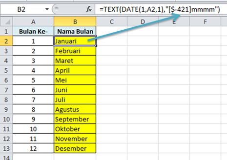 Contoh Rumus Excel Angka Menjadi Bulan Bahasa Indonesia