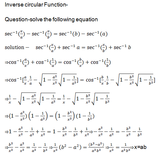 solution of a question of inverse circular functions