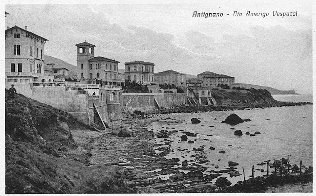 Vintage postcard, coast and villas by the sea, Antignano, Livorno