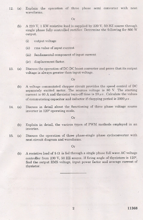 EE2301 Power Electronics Nov Dec 2012 Question Paper