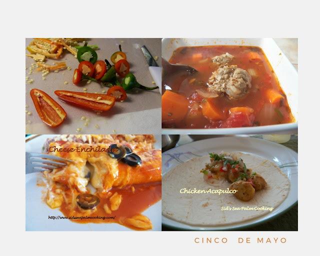 Jalapenos, Albondigas Soup, Cheese Enchiladas, Chicken Acapulco