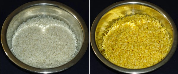 drained rice and moong dal