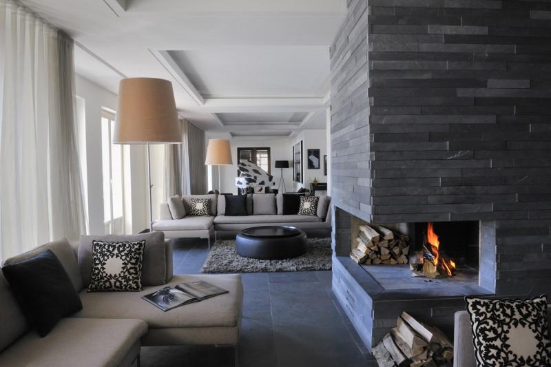 Grey fireplace