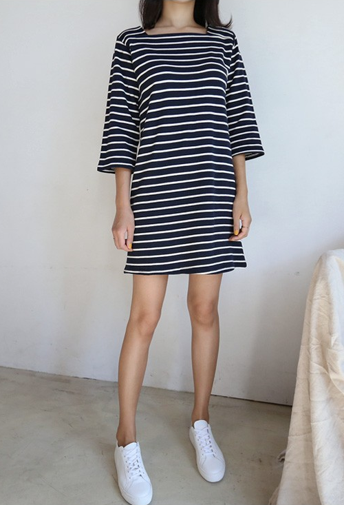 Timo Stripe Square Neck Mini Dress