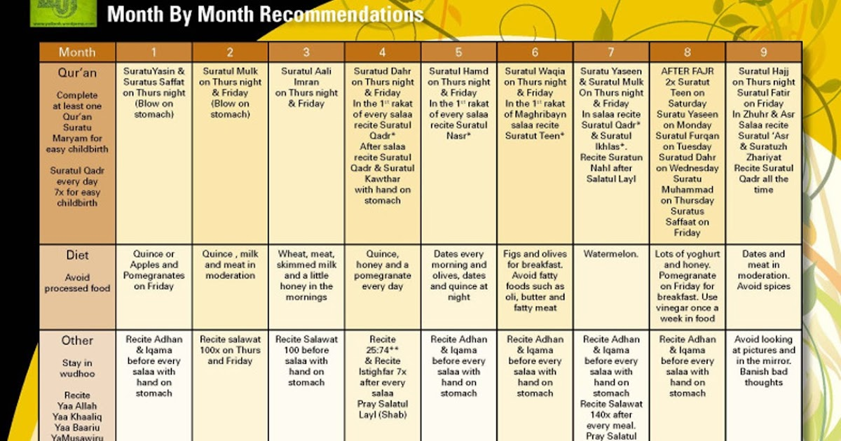 Pregnancy Chart: Monthly Chart to be followed by a Pregnant