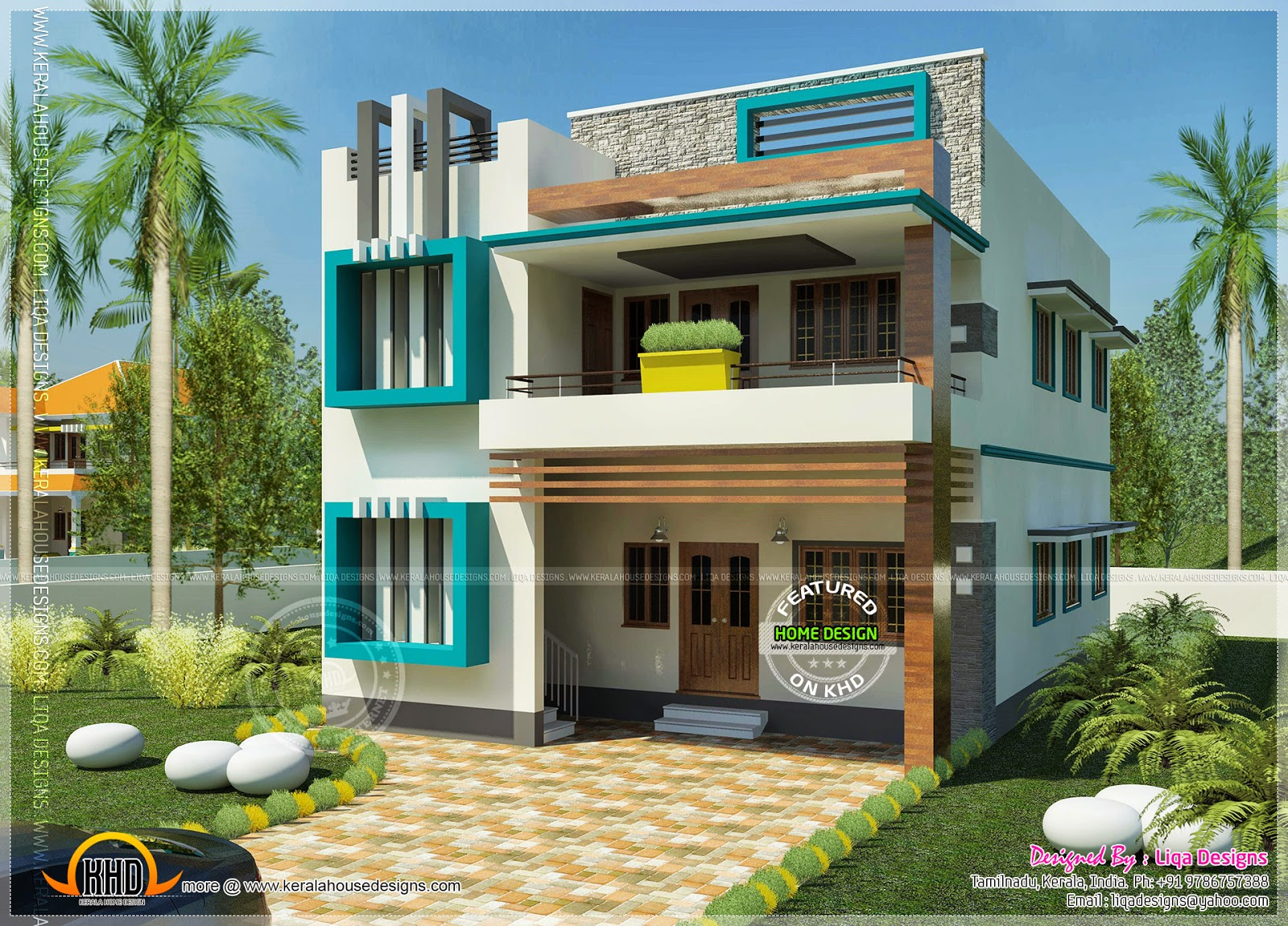 South indian contemporary home kerala home design and for Contemporary indian house elevations