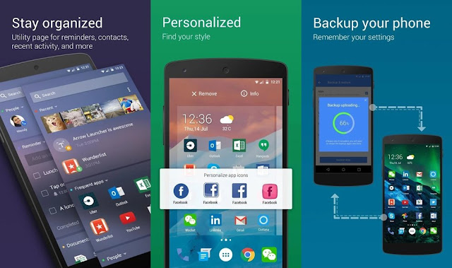 Arrow Launcher: Microsoft's Android startup screen