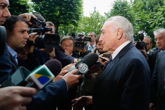 O presidente Michel Temer fala à imprensa em Hamburgo, na Alemanha - Rogério Melo/PR