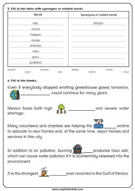 Global warming worksheet - fill in the gaps and other tasks