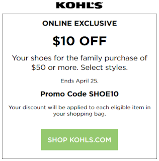 Kohls coupon $10 Off $50 Shoes purchase