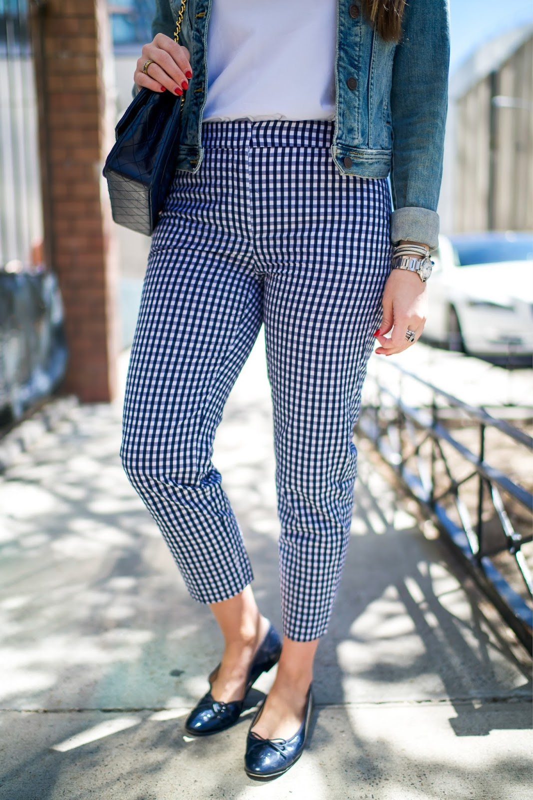 Gingham Pants for Work by popular New York fashion blogger, Covering the Bases.