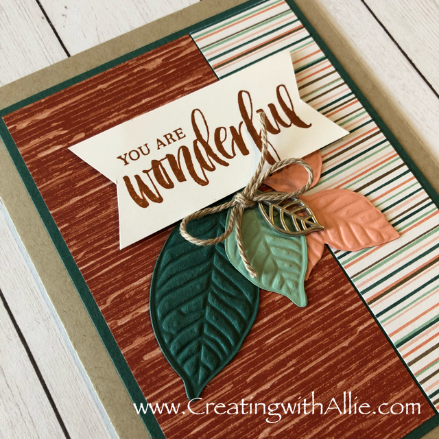 Check out the video tutorial showing you how to make a quick and easy card, where I show you tips and tricks for using Stampin Up's Nature's poem suitel!  You'll love how quick and easy this is to make!  www.creatingwithallie.com #stampinup #alejandragomez #creatingwithallie #videotutorial #cardmaking #papercrafts #handmadegreetingcards #fun #creativity #makeacard #sendacard #stampingisfun #sharewhatyoulove #handmadecards #friendshipcards