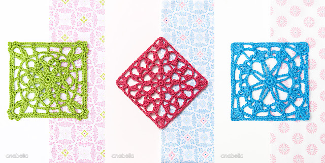 Crochet lace square Motif 2, 3, 4 / 2017 pattern Anabelia Craft Design