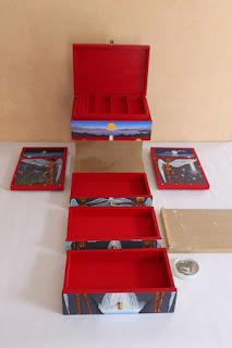 boîte à bijoux, assemblage, montage, bois, vernis