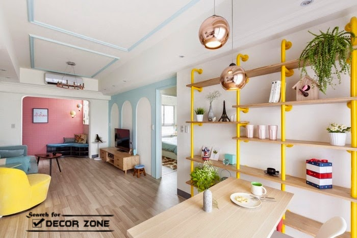 Apartment Shelving colorful studio apartment design in taiwanese city