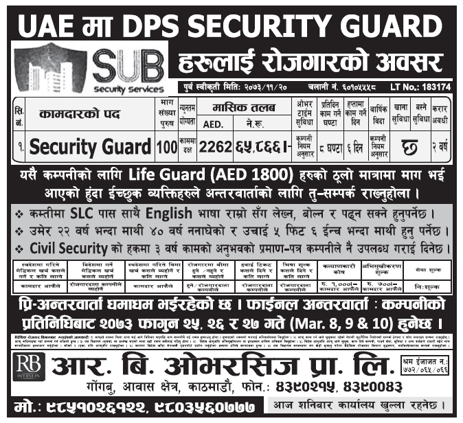 Jobs in UAE for Nepali, Salary Rs 65,866