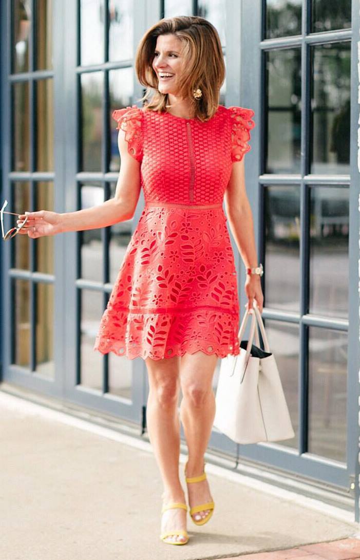 beautiful summer outfit idea with a red dress / bag and heels