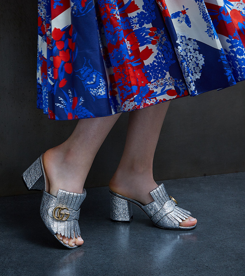 Gucci Cruise 2017 Collection New look Gucci union jack Corsage Silk Skirt Gucci marmont GG Kiltie Metallic Leather Block heel
