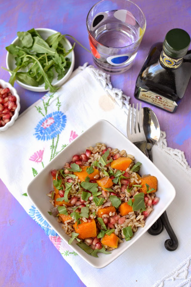 Brown Rice Salad with Roasted Butternut Squash & Pomegranates