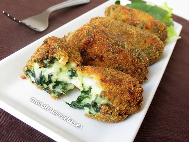 Croquetas de espinacas con queso mozzarella