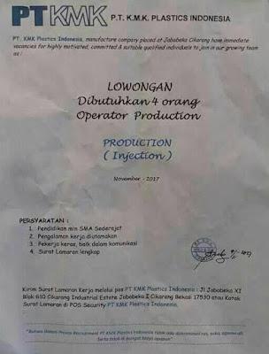 Lowongan PT KMK Plastics Indonesia