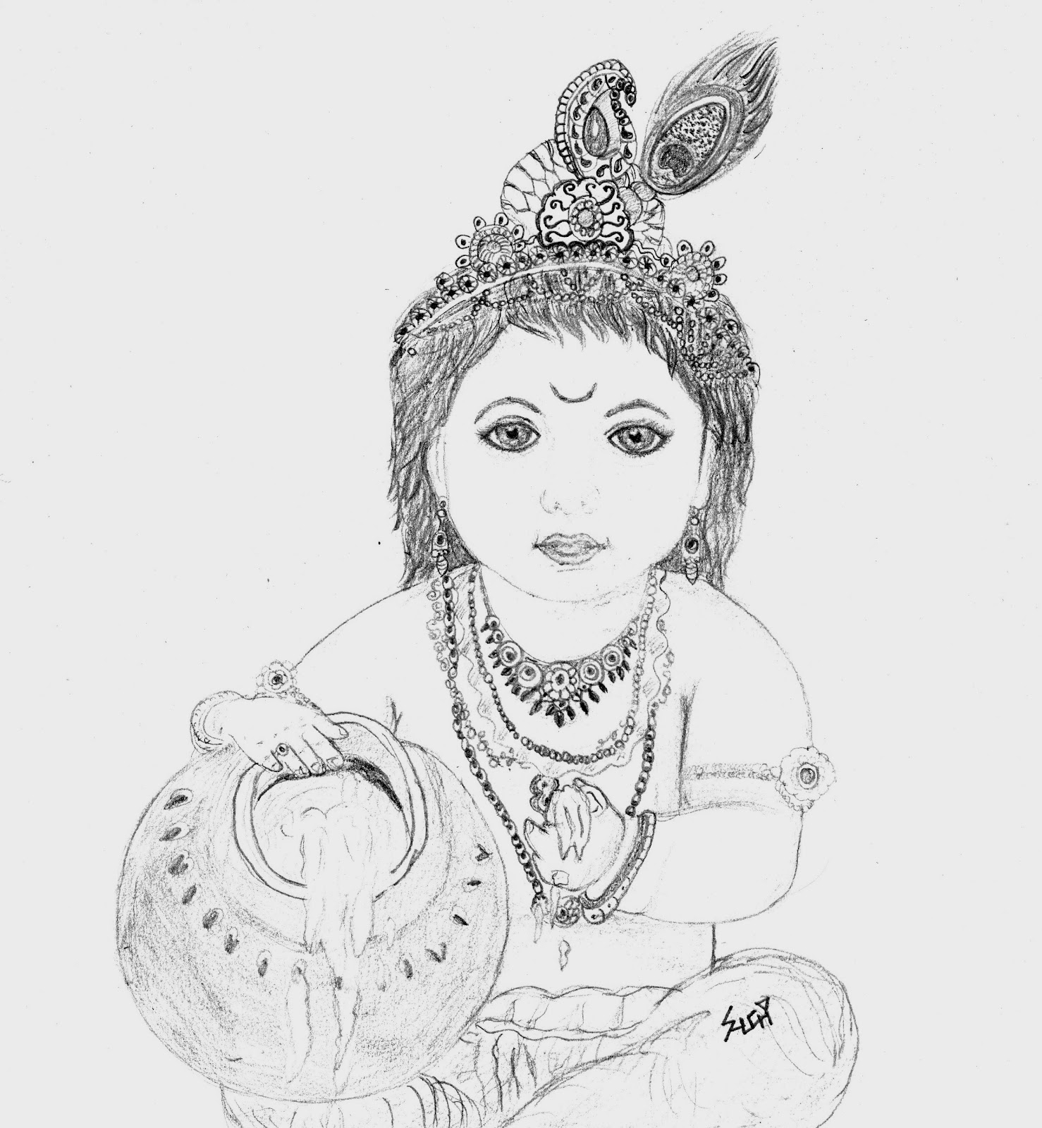 Radha Krishna Pencil Coloring Coloring Pages