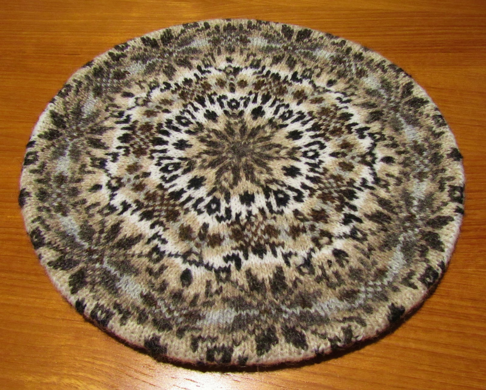 A finished fair-isle tam  it measures eleven inches in diameter. 5239bf5a4dd