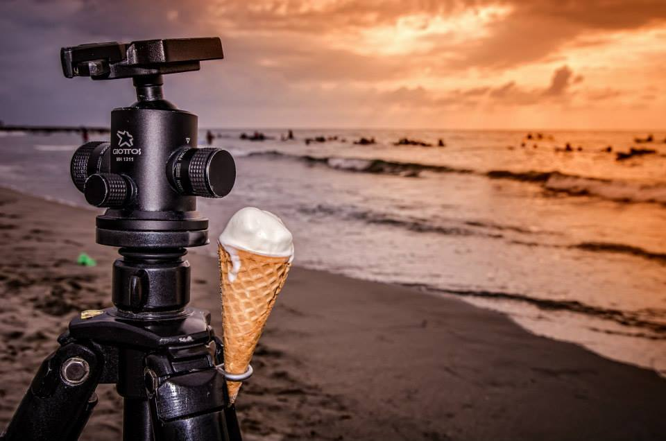 My camera tripod and fast melting ice cream
