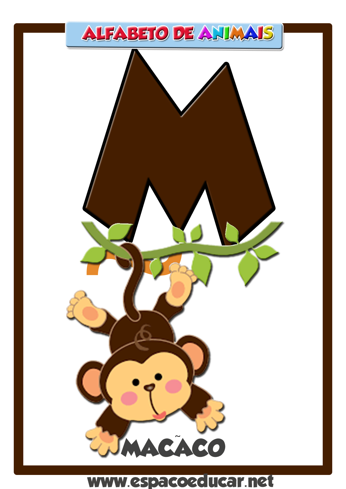 Favoritos ESPAÇO EDUCAR: Alfabeto de animais: cartaz com a letra M, do macaco! DP91