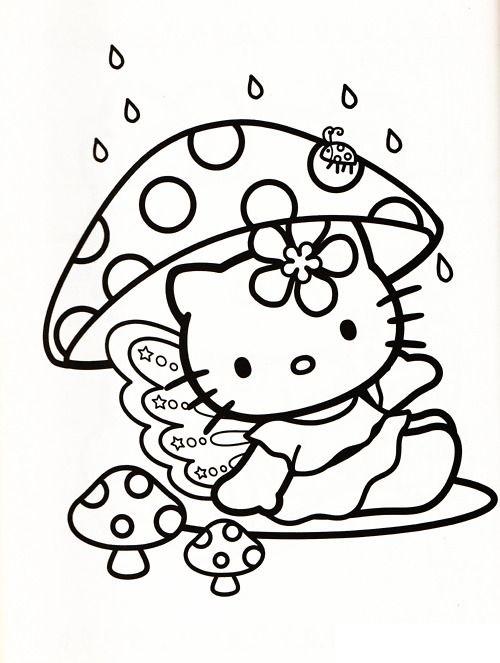 Tranh tô màu mèo hello kitty và cây nấm
