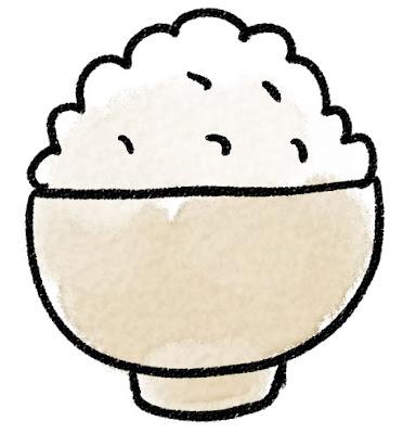 ご飯のイラスト「どんぶりの山盛りご飯」