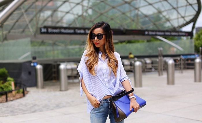 Shall We Sasa Paul Andrew tianjin wedges, paul andrew wedges, chicwish blue stripe shirt, blank denim ripped jeans, celine edge bag, karen walker super duper sunglasses, nyc blogger, nyc street style