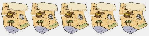 Five treasure maps used as a divider