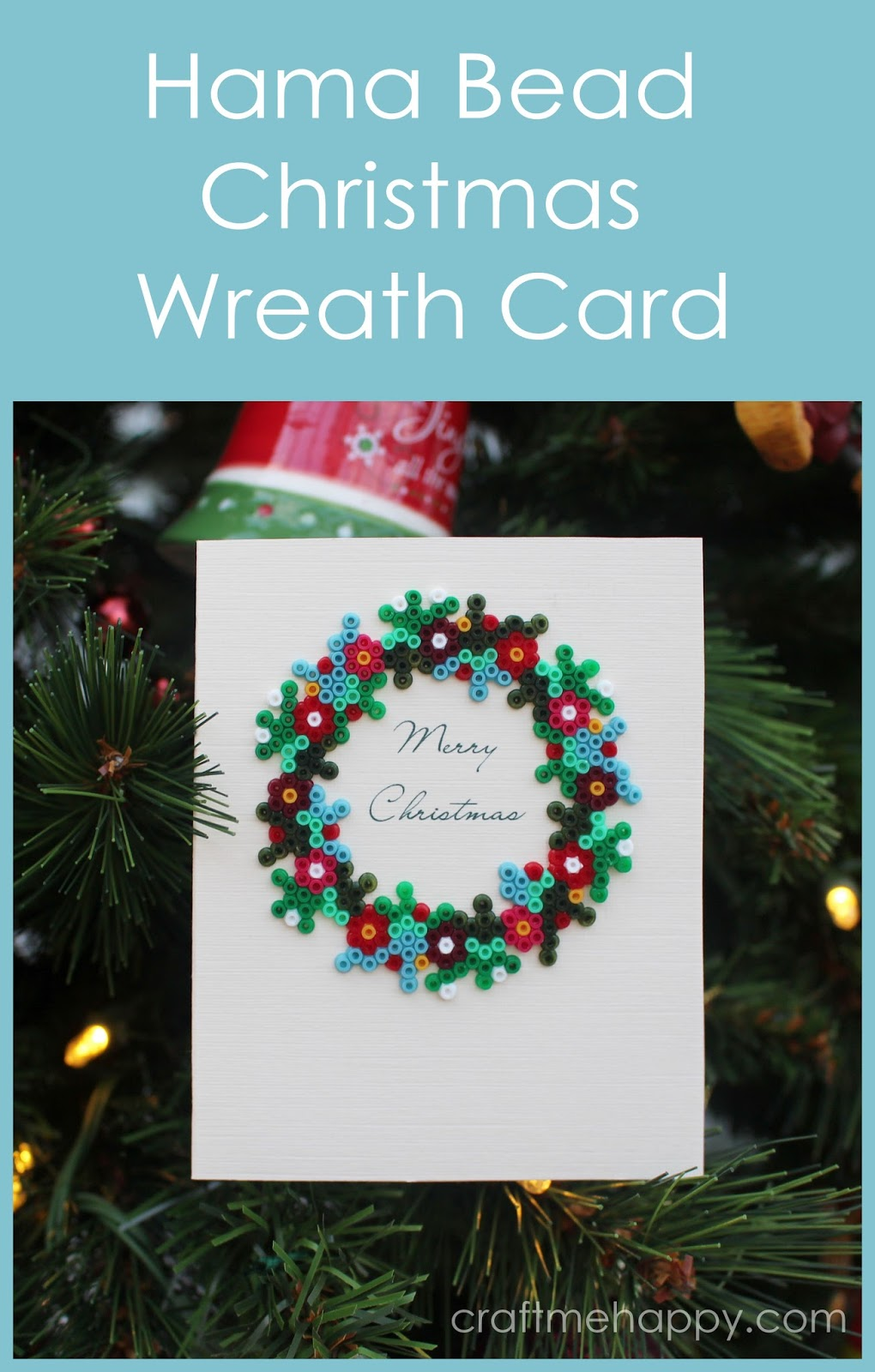 Craft me Happy!: Mini Hama Bead Wreath Christmas card