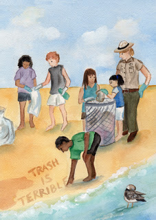 kids gathering trash along the shore