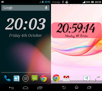widget clock apps with battery widget