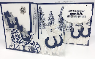 Linda Vich Creates: Stamp Club November Projects. Santa's Sleigh Z fold card in dramatic tones of Whisper White and Night of Navy with accents of silver foil and both silver and dazzling diamonds glimmer paper.