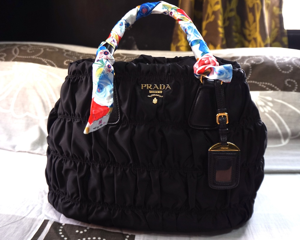 My Prada Tessuto Gaufre With Oh Bag Handle Wrap In Antoinette And Stuffer Can You Even Tell That She S 3 Years Old Already
