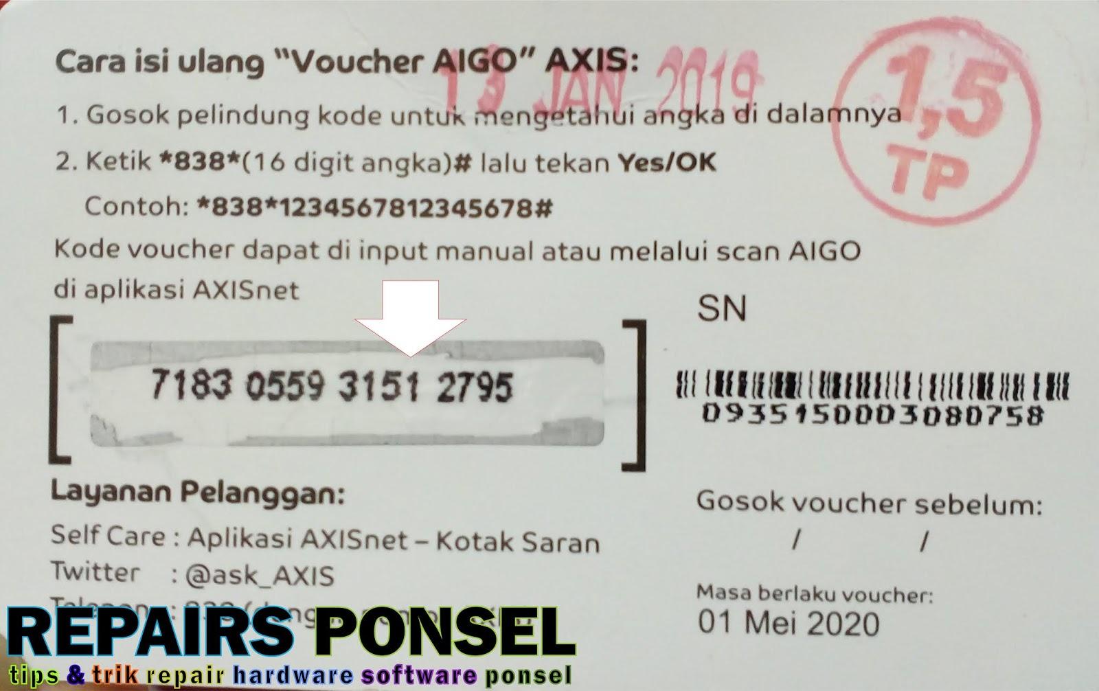 Cara isi Ulang Voucher Axis AIGO - Repairs Ponsel