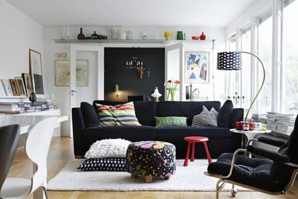 ideias de decoração com sofá preto