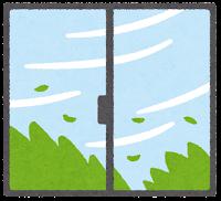 窓の外の天気のイラスト(強風)