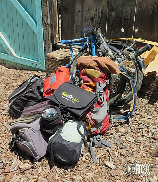 Picture of Dahon Mariner folding bike with complete bikepacking kit for bicycle touring and photography
