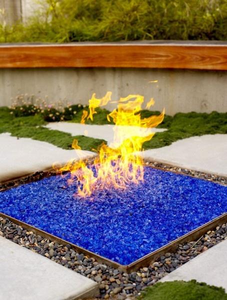 A Blue Glass Fire Pit