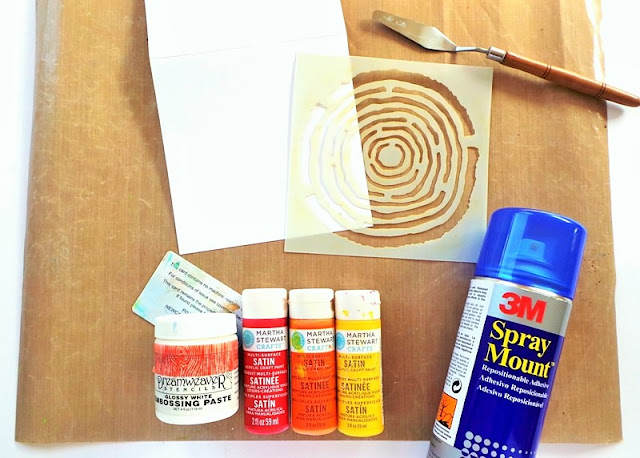 Items to use for stenciling with the Happy Scatter Wood Slice Stencil