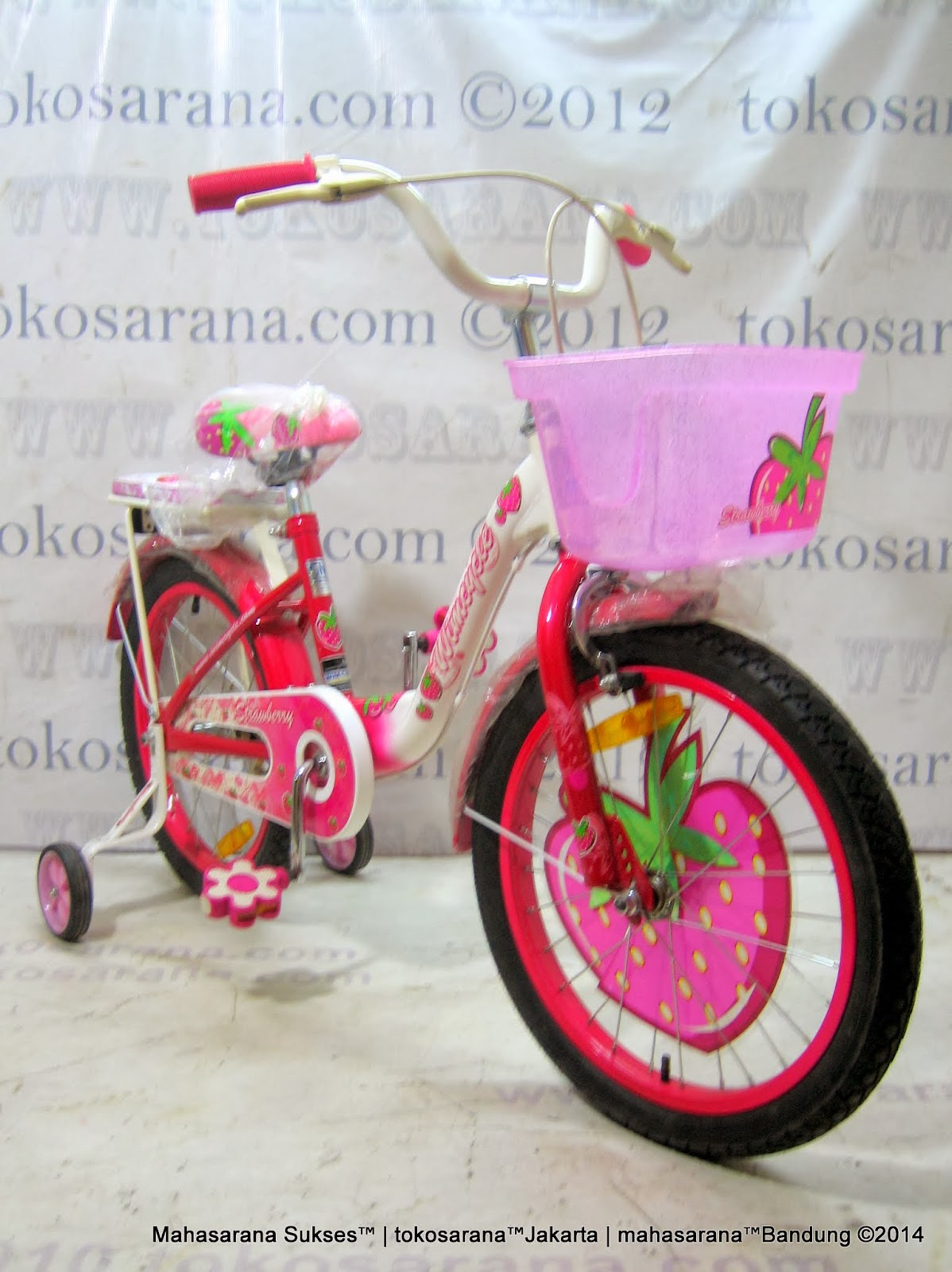 18 Inch Wimcycle Mini Strawberry Kids Bike