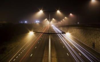 Wallpaper: Fog. Night. Traffic Lights