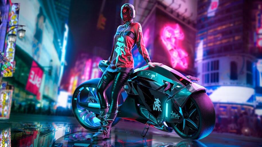 Cyberpunk, Girl, Motorcycle, 4K, #4.1026